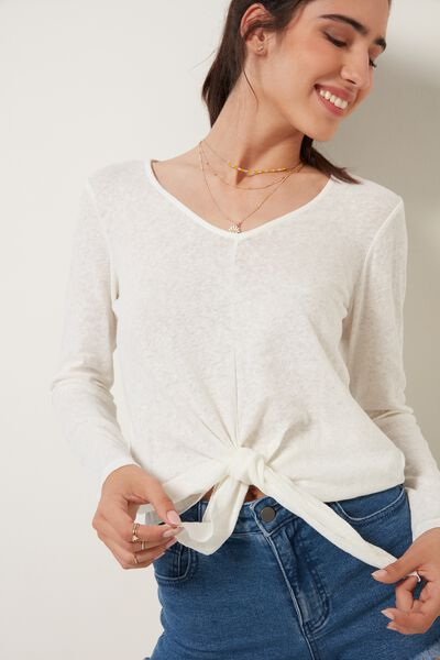 Long-Sleeved Cotton and Linen Jersey with Knot