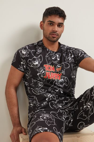 Men's All-Over Tom and Jerry Print Short PJ Set