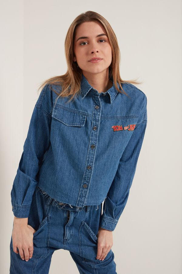 Denim Shirt with Tom and Jerry Print