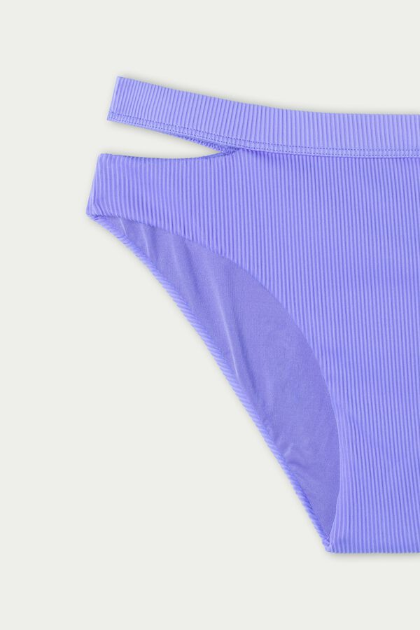 High-Waist Ribbed Bikini Bottoms with Cut-Out Detail