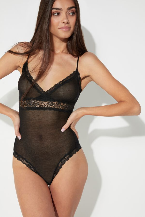 Viscose and Silk Bodysuit with Lace Details
