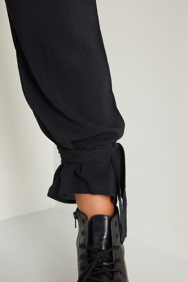Pantaloni de Jogging din Pânză cu Șnururi în Partea Inferioară