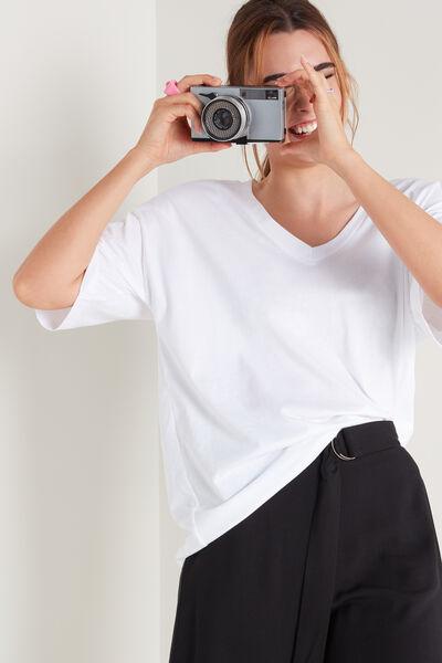 Oversize-Shirt aus Baumwolle mit V-Ausschnitt