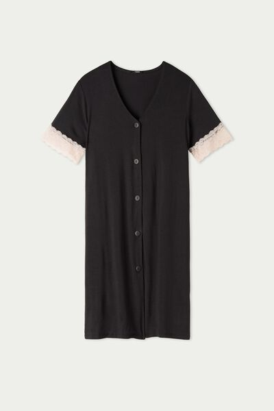 Lace and Viscose Nightshirt with Buttons