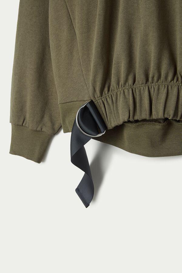 Camisola Felpa Curta Manga Comprida com Detalhe