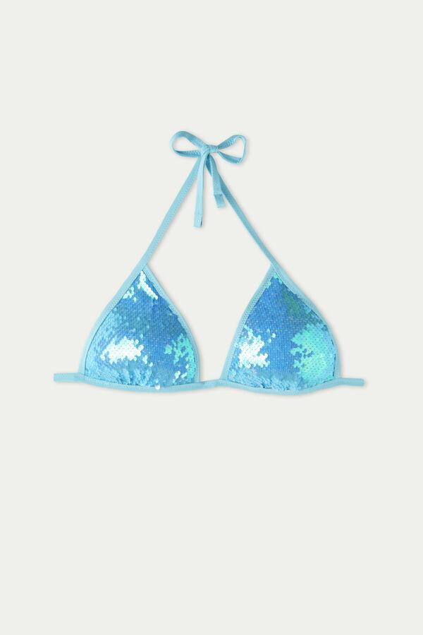 Light Blue Sequinned Triangle Bikini Top