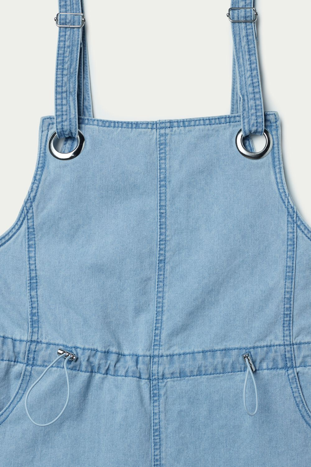 Short Denim Dungarees with Drawstring