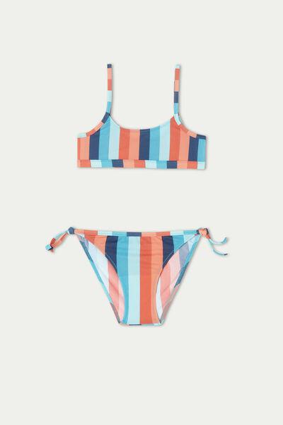 Girls' Colour Stripe Crop Bikini