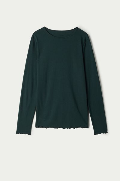 Long Sleeve Cotton Top with Rolled Hem
