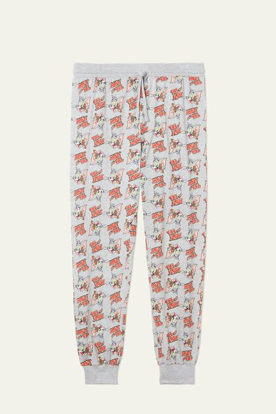 Long Cotton Trousers with Tom&Jerry Print