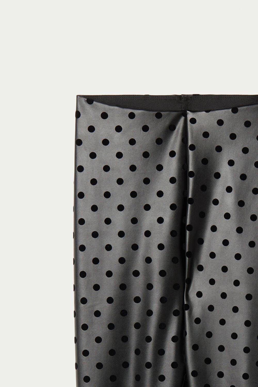 Polka Dot Faux Leather Thermal Leggings