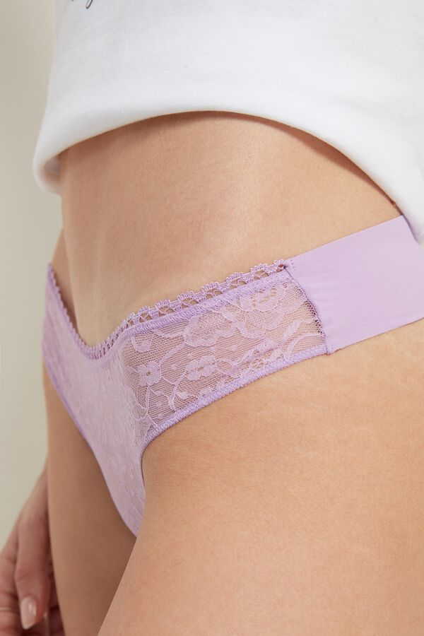 Raw-Edge Cheeky Panties in Microfiber and Lace