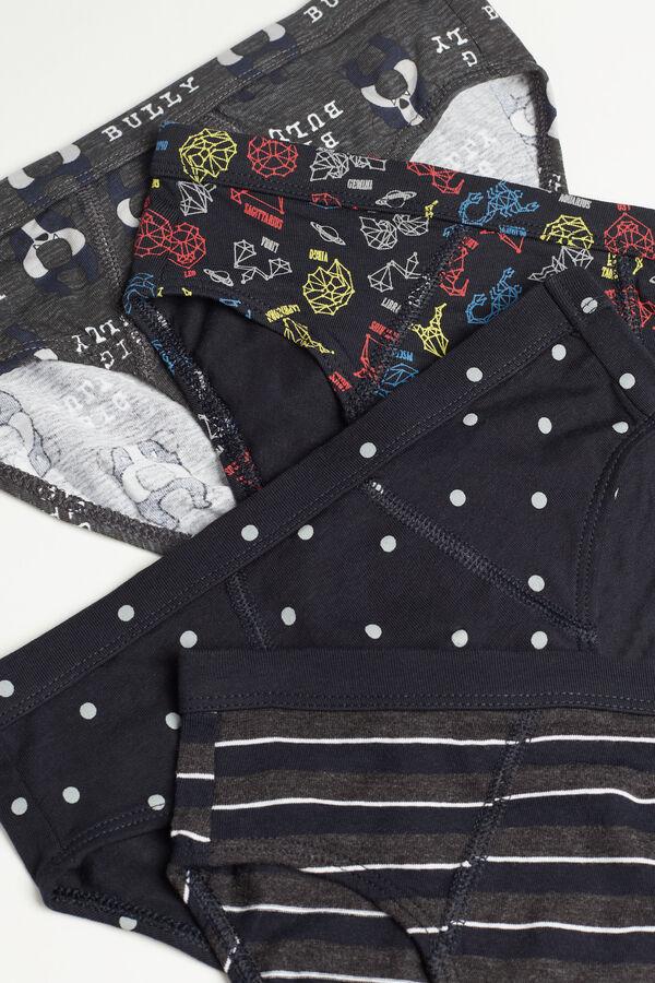 Pack 4 Slip en Coton avec Imprimé Fantaisie