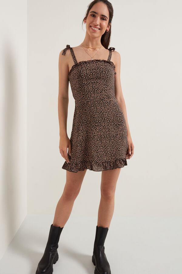 Υφασμάτινο Φόρεμα με Βολανάκι στο Ντεκολτέ
