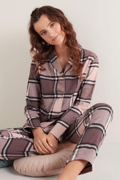 Dlouhé Otevřené Pyžamo Pánského Střihu z Bavlněného Flanelu
