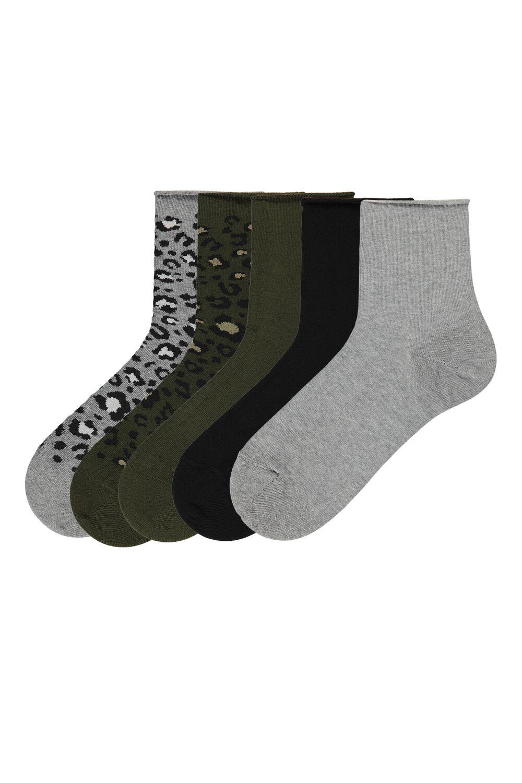 5 X Print-Detail No-Cuff Cotton Sock
