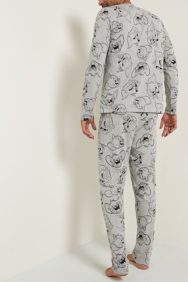 Pyjama Long Homme Imprimé Tom and Jerry Gris