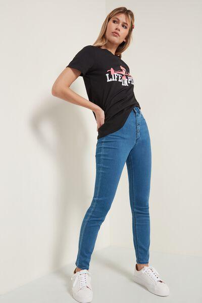 Jeans Skinny Vita Alta con Bottoni