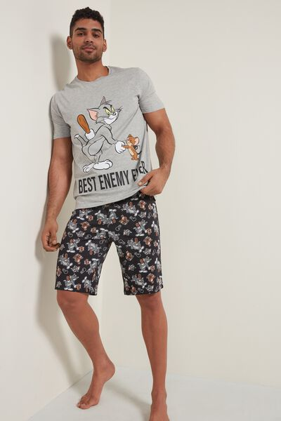 Kurzer Pyjama für Herren mit Tom and Jerry Print Best Enemy