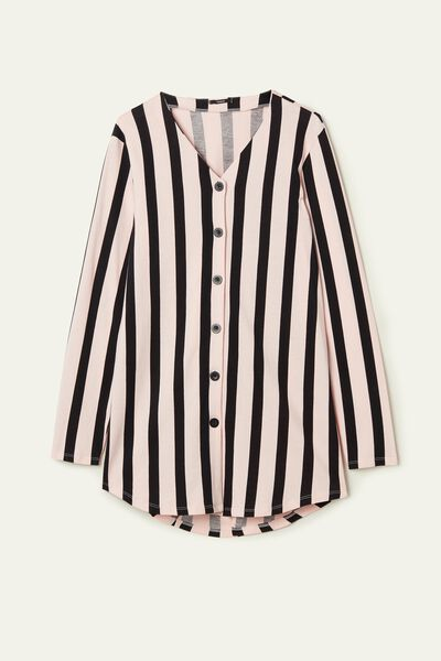 Long-Sleeved Button-Down Nightgown