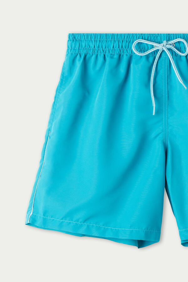 Fabric Swim Trunks with Piping