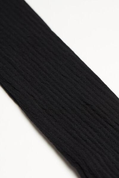 Collant Taille Haute Thermique Coton Côtelé