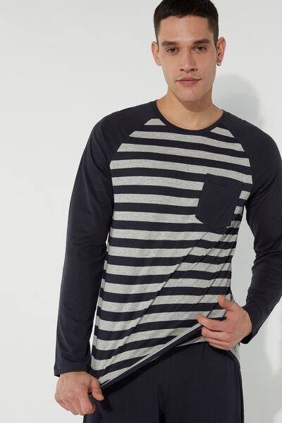 Men's Long Striped Pyjamas with Breast Pocket