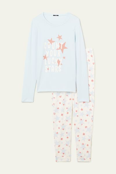 Star Print Long Cotton Pyjamas