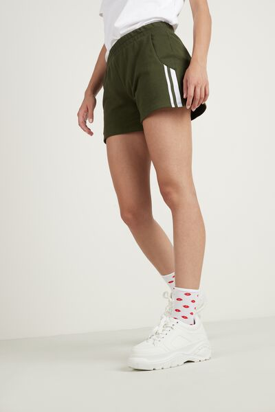 Cotton Sweatshirt Shorts with Stripe