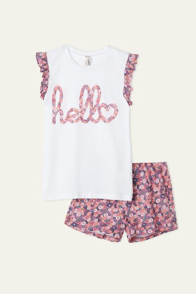 Girls' Summer Floral Print Short Pyjamas with Frill