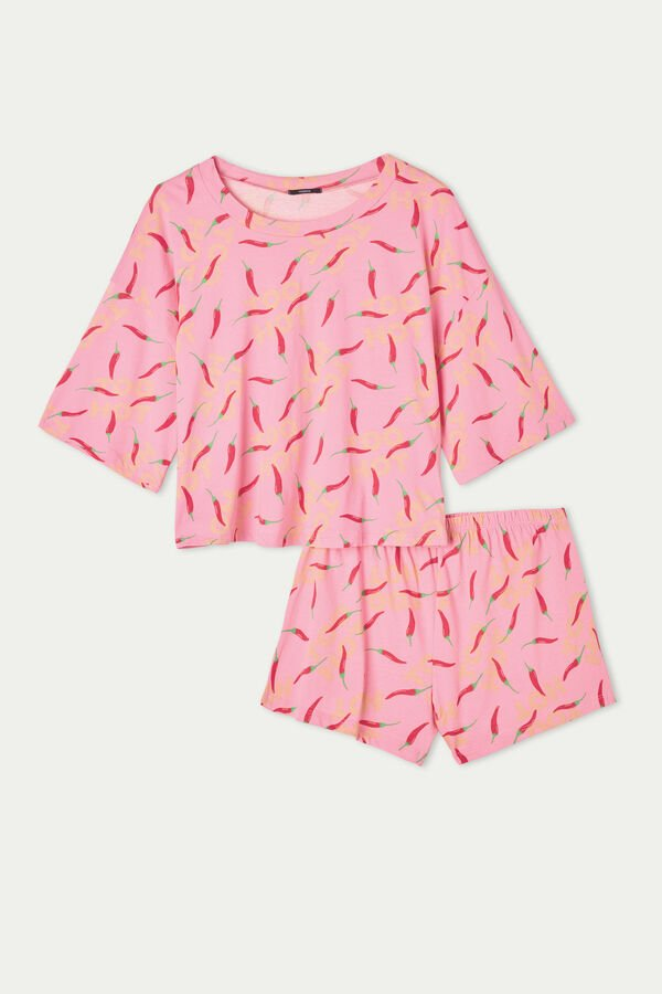 Short Sleeve Short Pyjamas with Pepper Print
