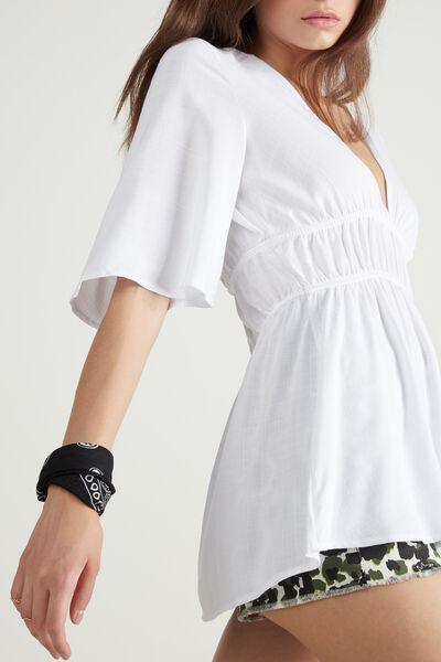 Short-Sleeved V-Neck Canvas Top