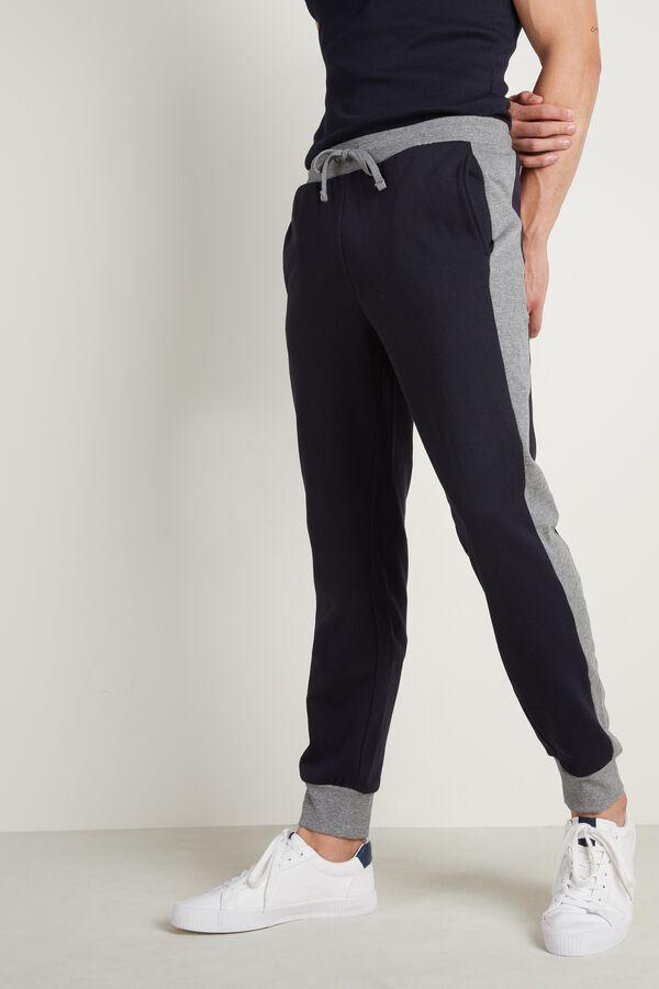Dwukolorowe Długie Spodnie Dresowe