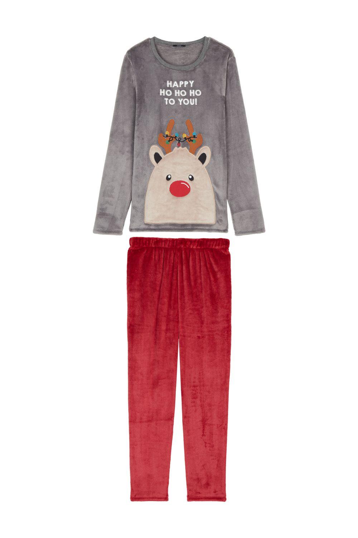 Langer Pyjama mit Rentier
