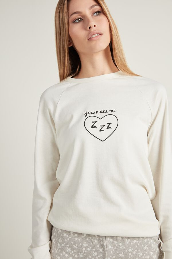 Long Sleeve Printed Cotton Top