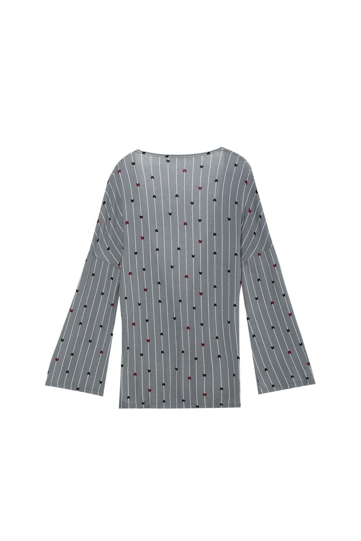 Long-Sleeved Viscose Wraparound Top