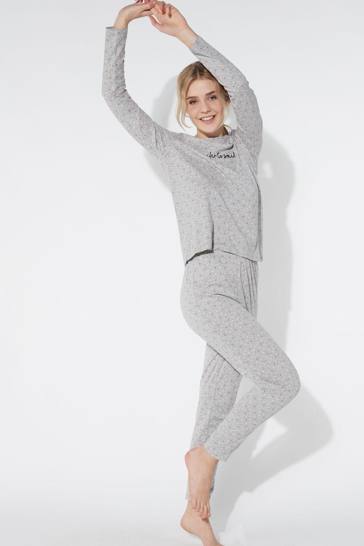 Long Smile Print Pajamas