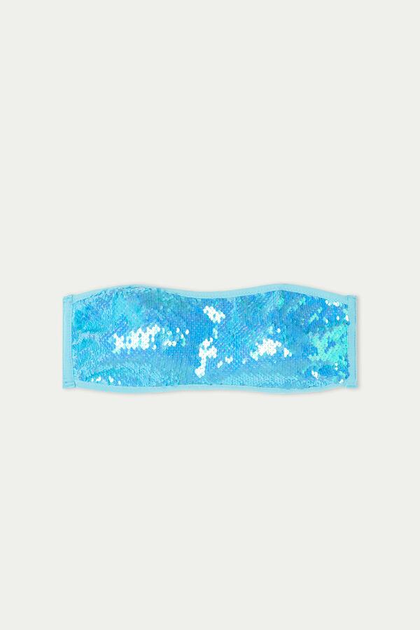 Light Blue Sequinned Bandeau Bikini Top