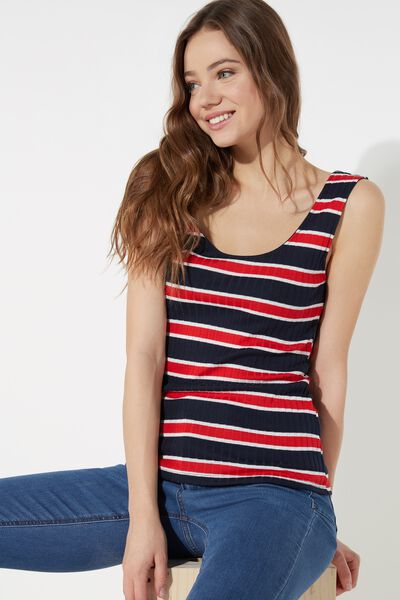 Ribbed Cotton Wide Neck Tank Top
