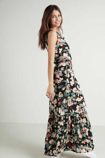 Long Sleeveless Dress with Frill