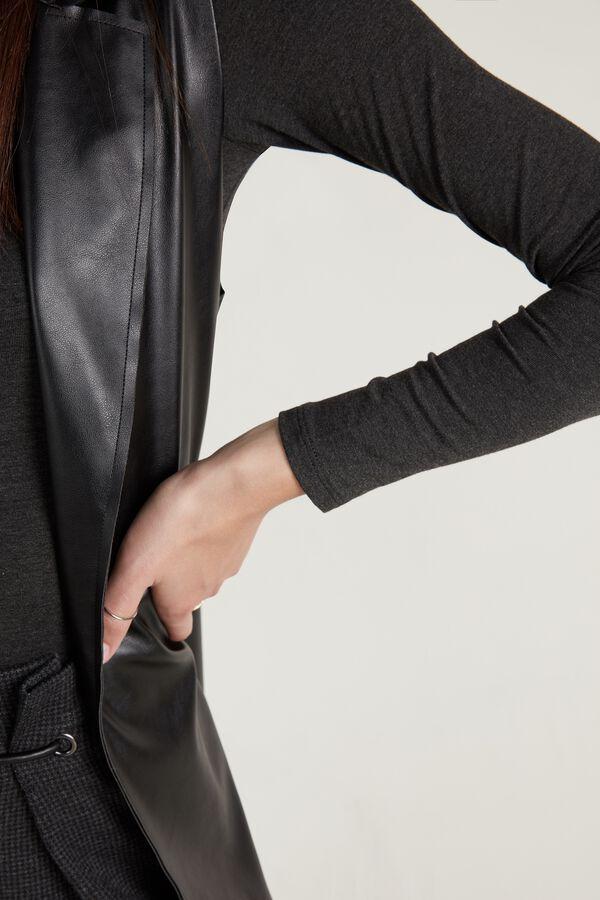 Long Faux Leather Gilet