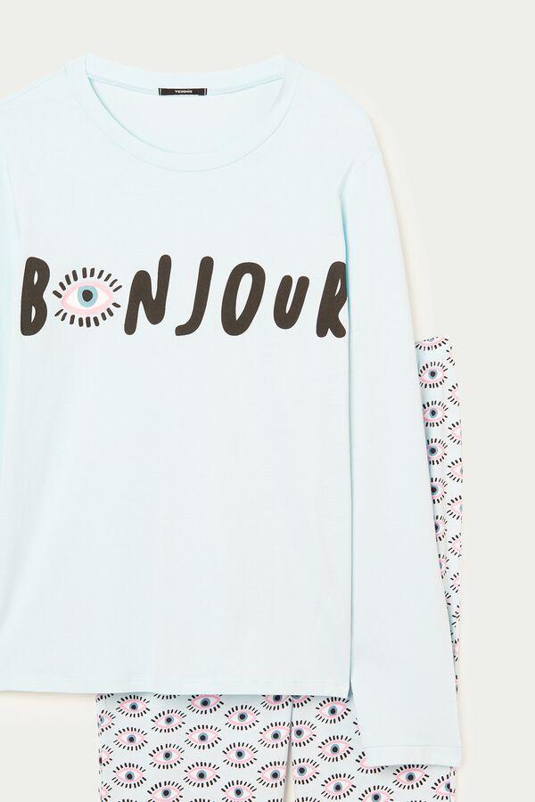 Long Cotton Bonjour Print Pajamas