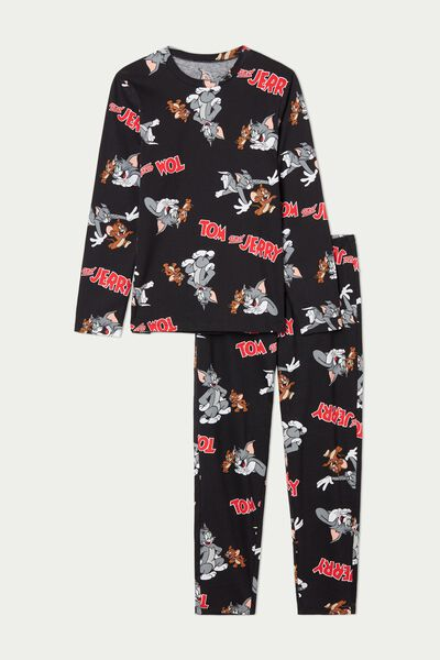 Langer Pyjama mit Tom and Jerry Print Schwarz