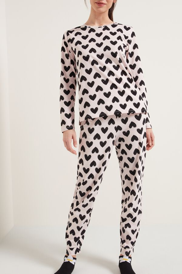 Long Cotton Pajamas with Heart Print
