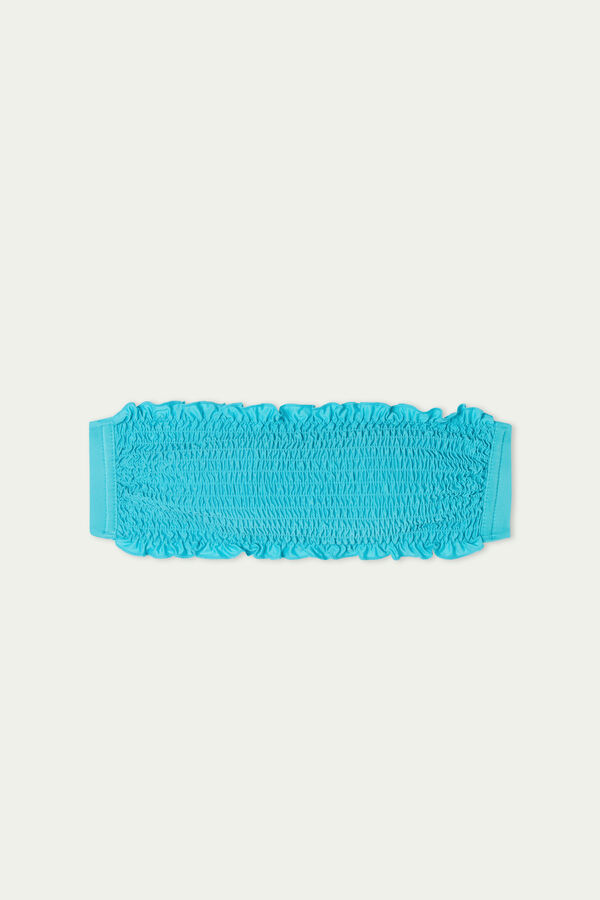 Bikini Bandeau Smock de Color Liso de Microfibra Reciclada