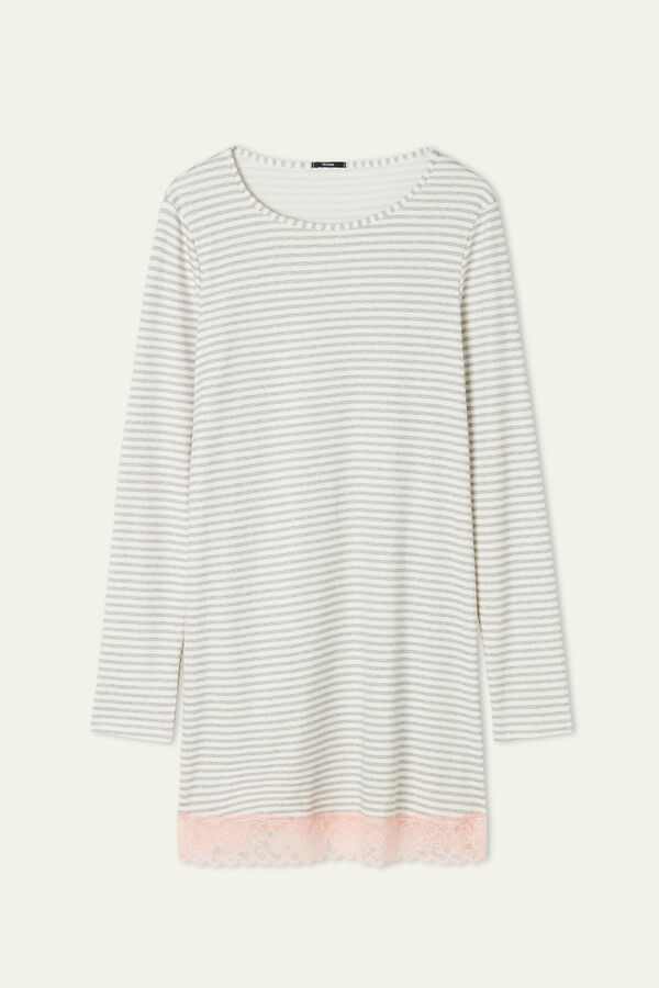 Striped Nightdress with Lace Inserts