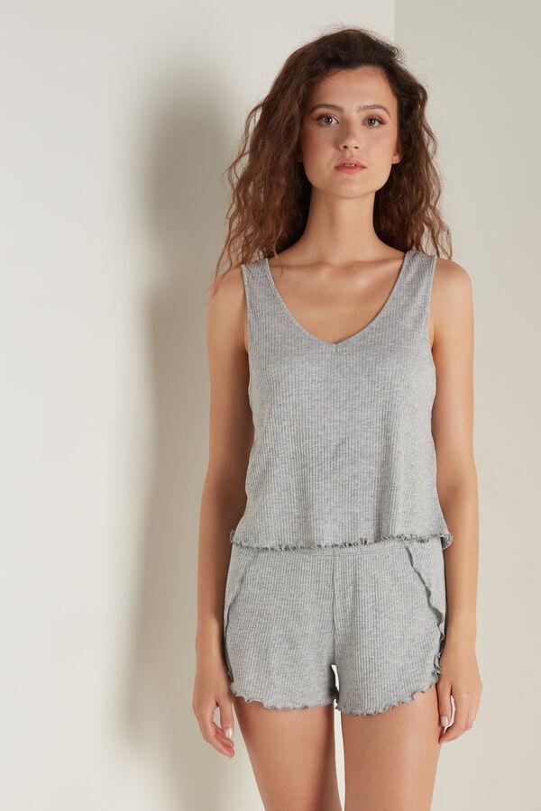 Ribbed Cotton Short Pyjamas