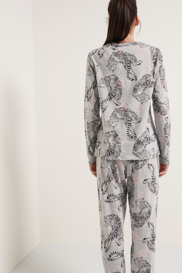 Long Cotton Tiger Print Pajamas