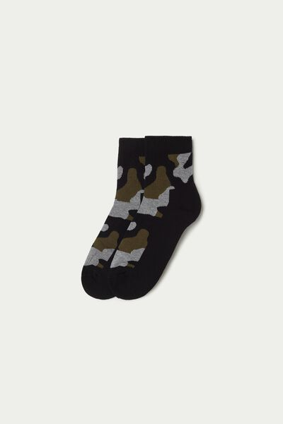 Short Patterned Cotton Sports Socks