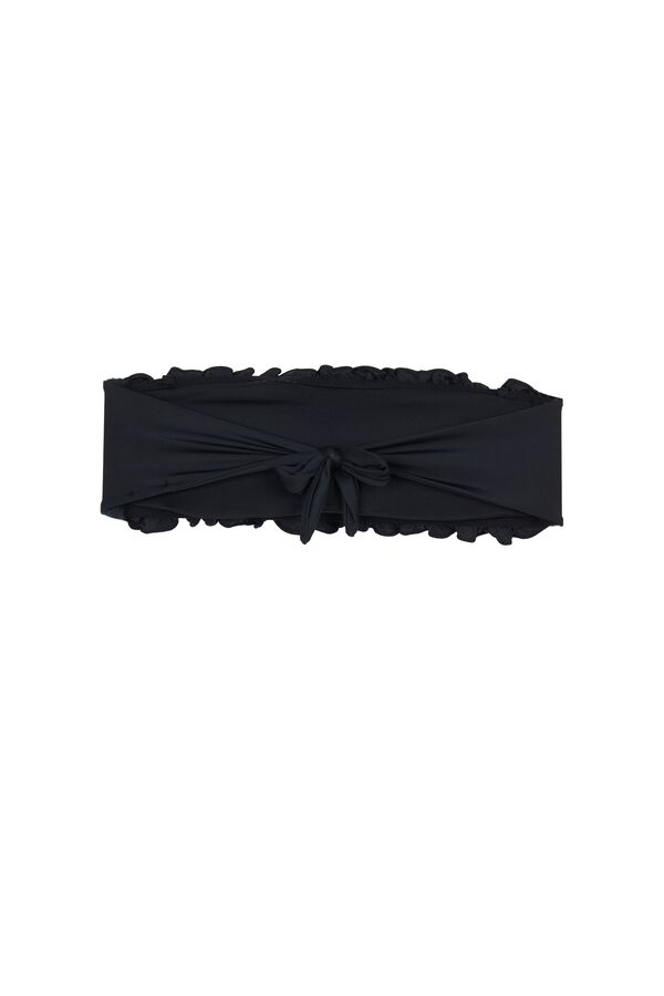 Plain-Coloured Smocked Bandeau Bikini Top